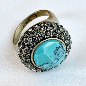 Chloe + Isabel Retro Pavé Cocktail Ring Turquoise